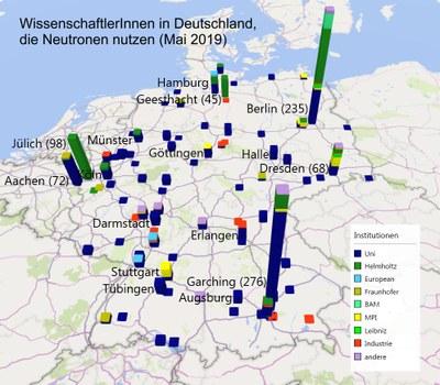 Verteilung der NeutronenforscherInnen auf der Deutschlandkarte