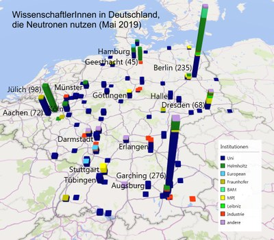 Distribution of neutron users on the map of Germany