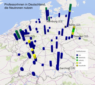 Distribution of professors using neutron on the map of Germany