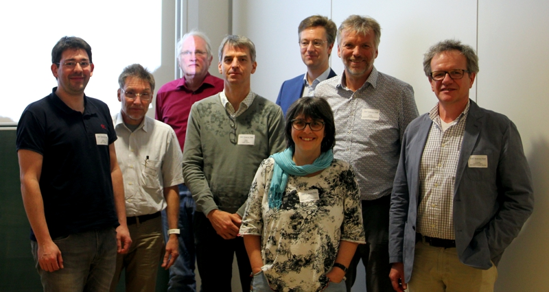 Constituent meeting of the members and deputy members of the KFSi in Darmstadt during the Workshop on Ion and Particle Beams in 2018. From left to right: Daniel Severin, Andreas Wucher, Hans Hofsäss, Stefan Facsko, Oliver Forstner, Silke Merchel, Günther Dollinger, Christoph Hugenschmidt