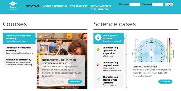 Screenshot of the www.e-neutrons.org frontpage